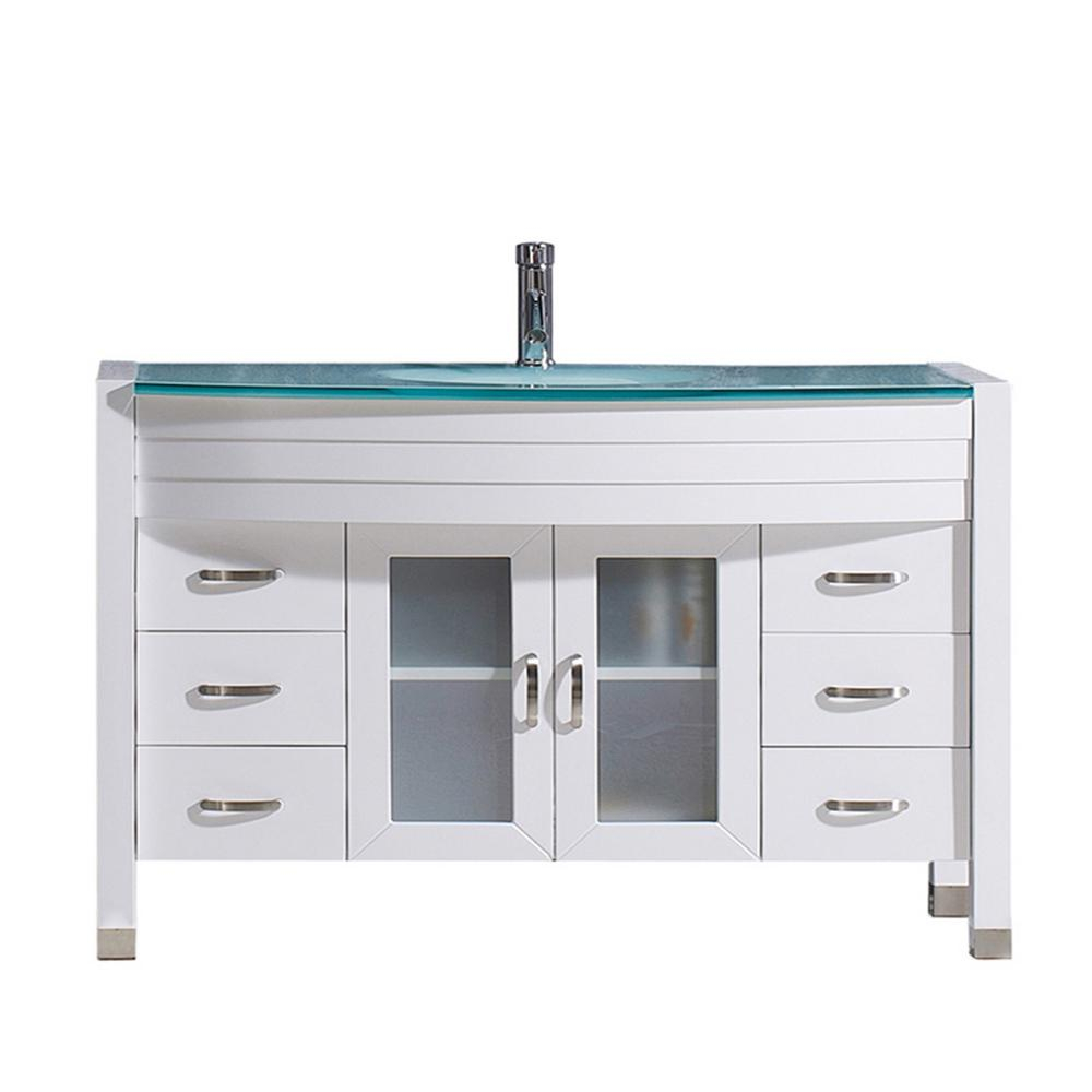 Virtu Usa Ava 47 In W Bath Vanity In White With Glass Vanity Top In