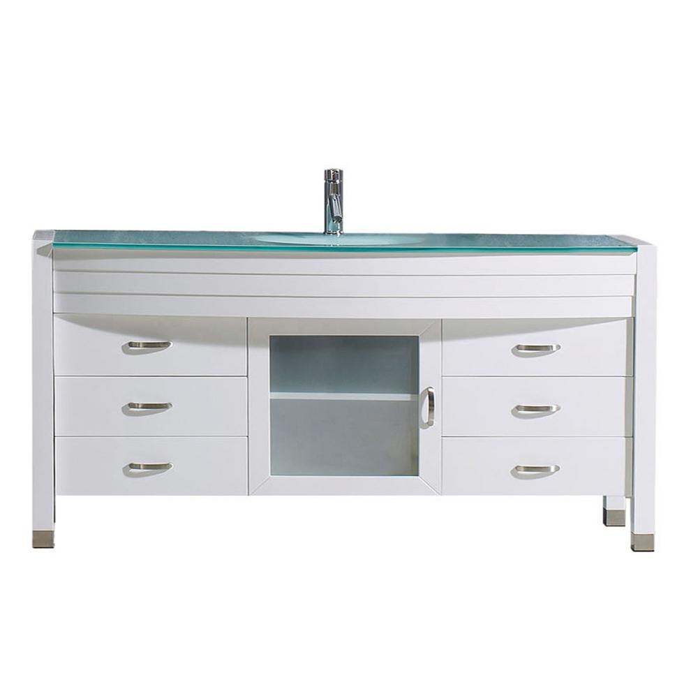 Virtu Usa Ava 62 In W Bath Vanity In White With Glass Vanity Top In