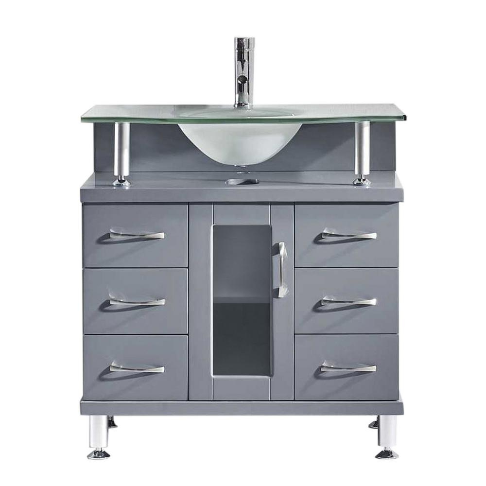 Virtu Usa Vincente 32 In W Bath Vanity In Gray With Glass Vanity