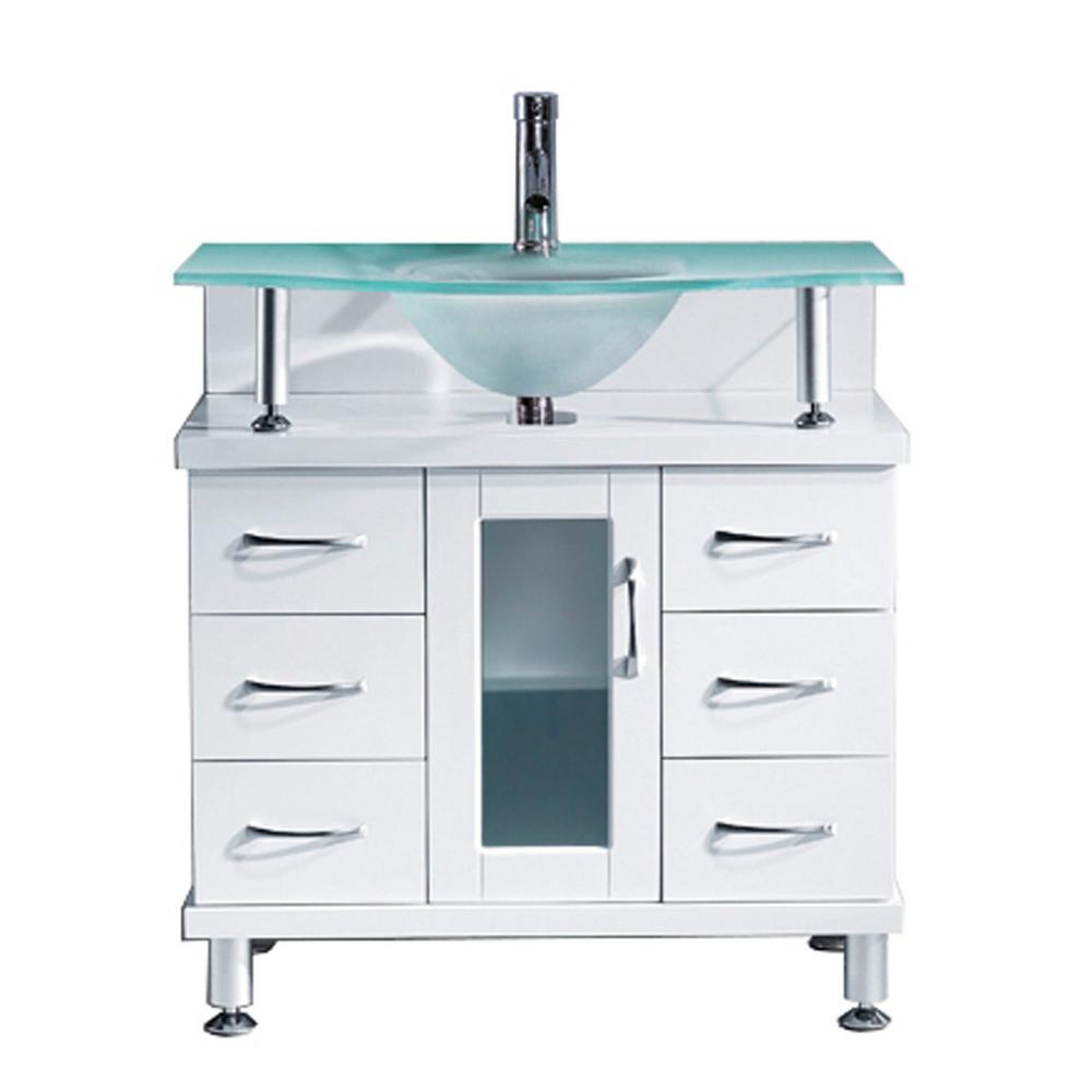 Virtu Usa Vincente 32 In W Bath Vanity In White With Glass Vanity