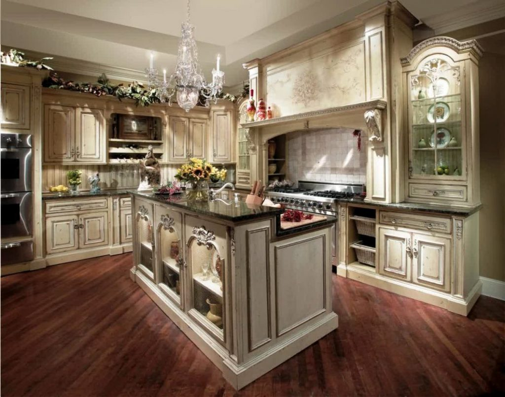 Western Style Antique French Country Kitchen Decorating Furniture