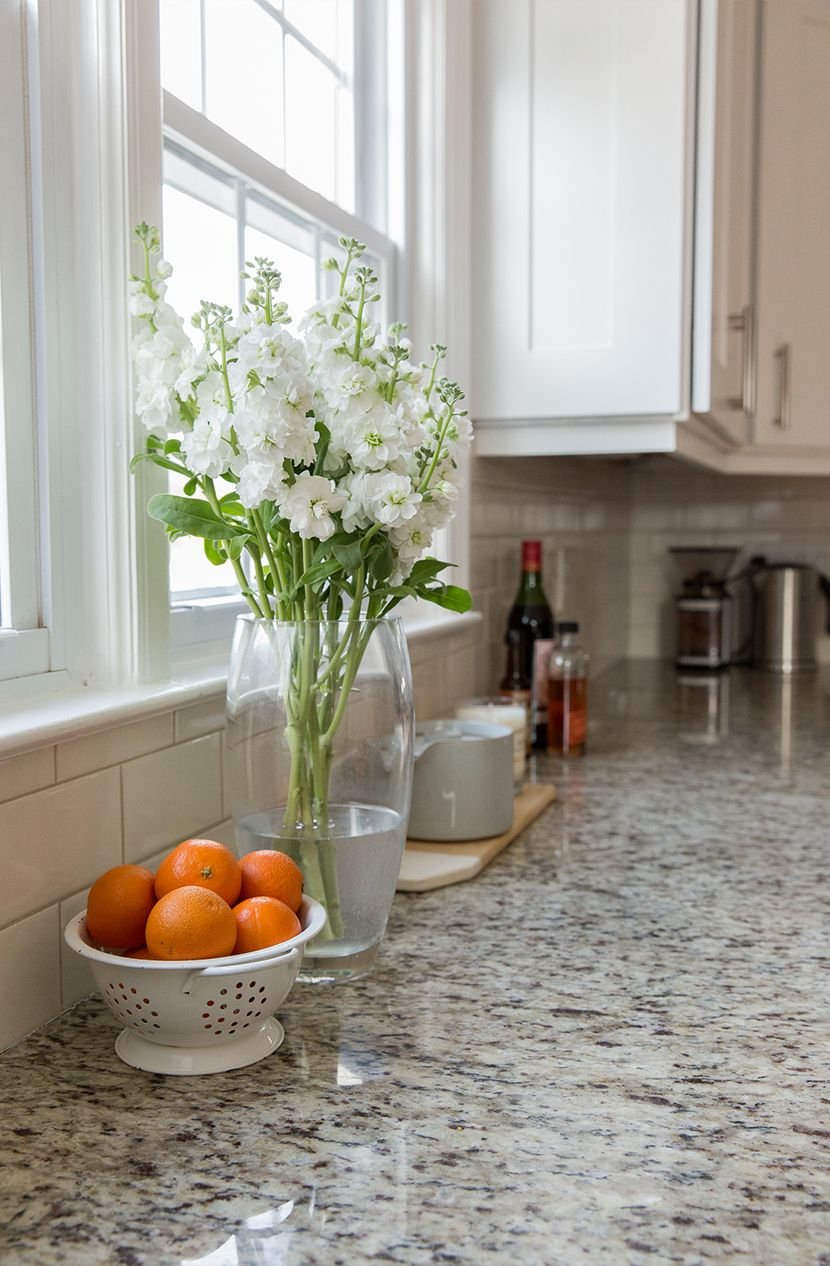White Cabinets Giallo Ornamental Granite Whitecreamlight Grey
