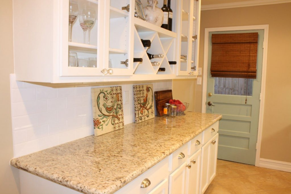 White Cabinets Tile Floor Giallo Ornamental Granite Kitchens