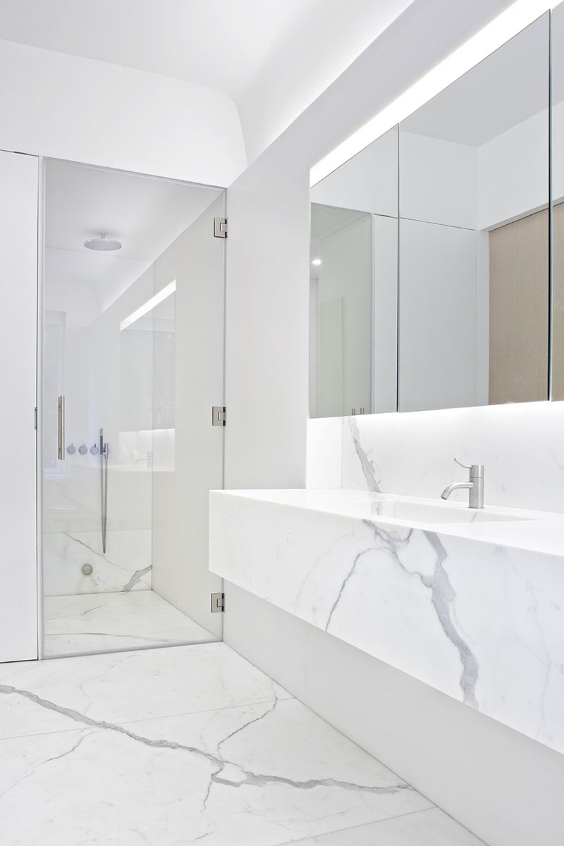White Calacatta Marble Bathroom Interior Templer Townhouse