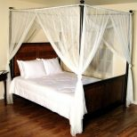 White Four 4 Post Bed Canopy Netting Curtains Sheer Panel Fabric