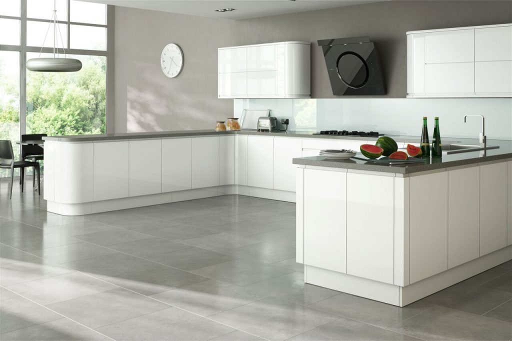 White Kitchen With Grey Vinyl Floor Laminate Kitchen Flooring Best