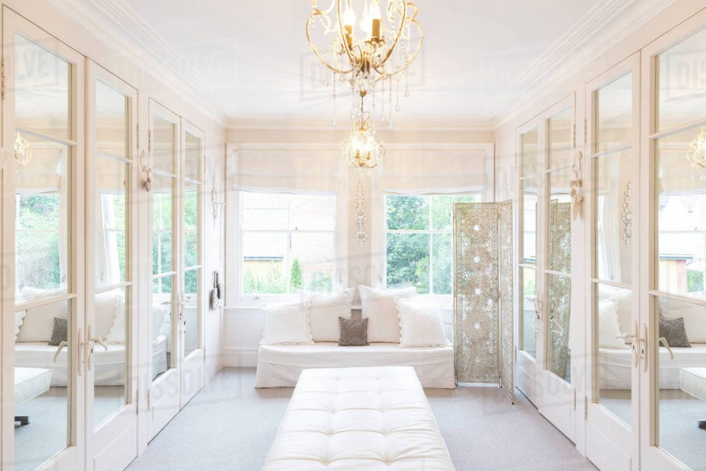 White Luxury Home Showcase Interior Dressing Room With Mirrored