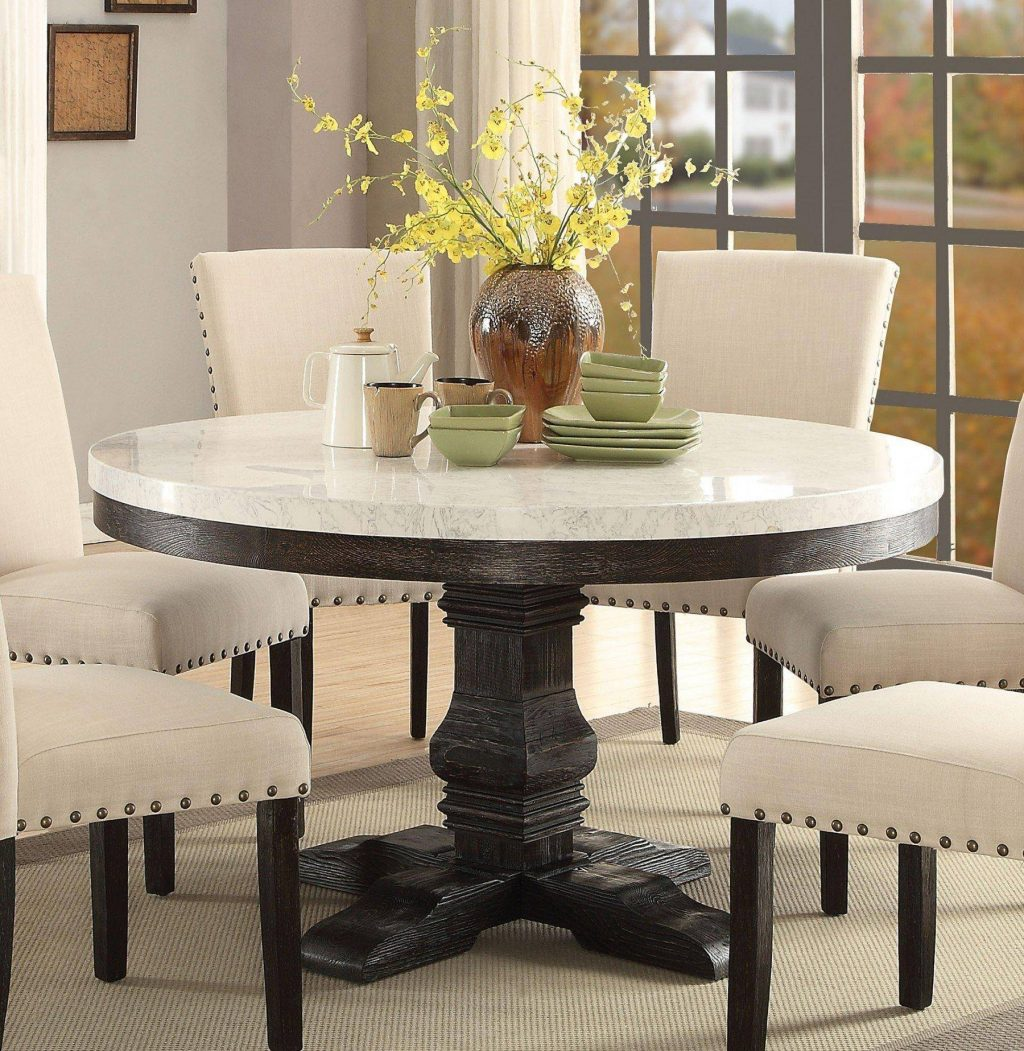 White Marble Top Black Round Dining Table Set 7pcs Acme Furniture