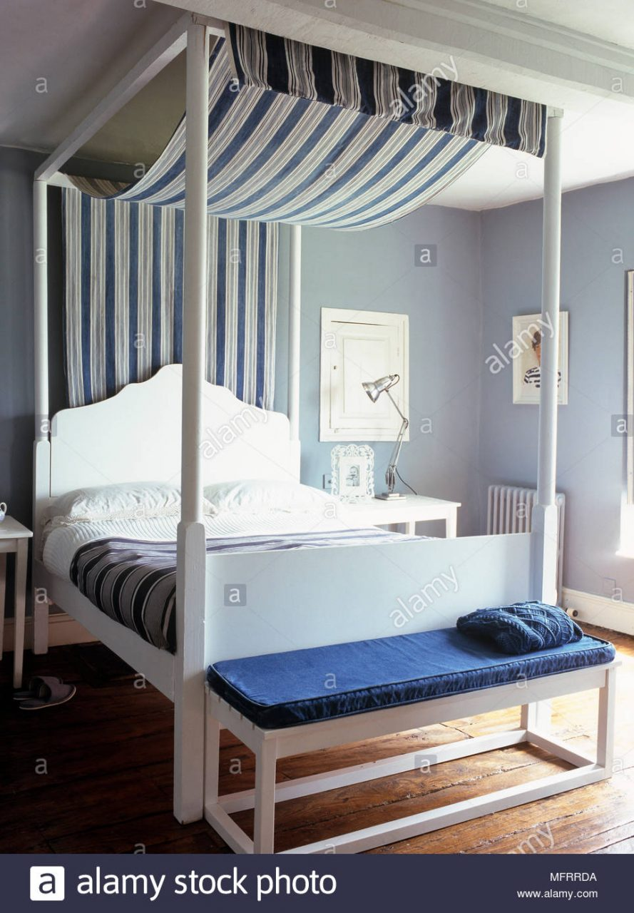 White Wood Four Poster Bed With Blue Stripe Fabric Canopy In Modern