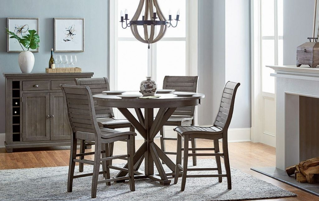 Willow Distressed Dark Gray Round Counter Height Dining Room Set