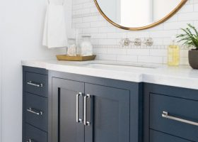 Blue Gray Painted Bathroom Vanity