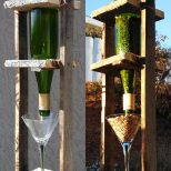 Wine Bottle Bird Feeder We Made This From An Old Pallet An Empty