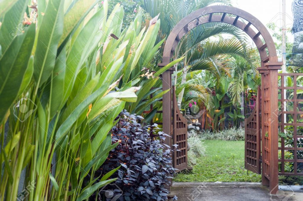 Wooden Arbor With Gate In Garden Wooden Arched Entrance To The