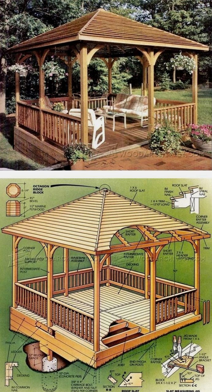 Wooden Gazebo Plans Outdoor Plans And Projects Woodarchivist