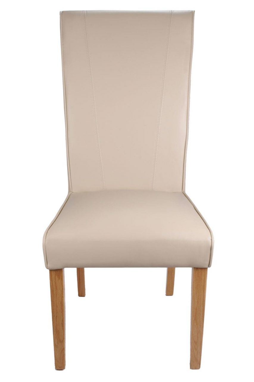 York Matt Ivory Leather Dining Chairs With Oak Legs