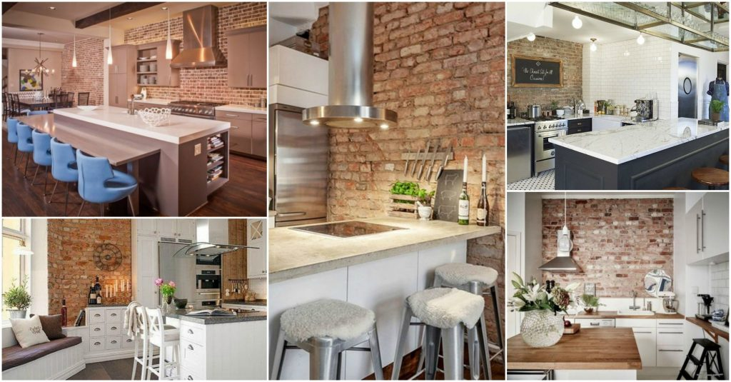 20 Modern Exposed Brick Wall Kitchen Interior Designs