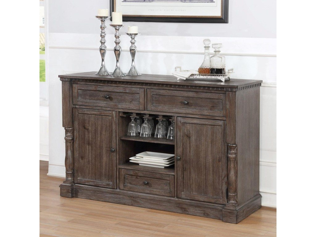 2270 Server Regent Grey Finish Wood Dining Buffet Server Sideboard