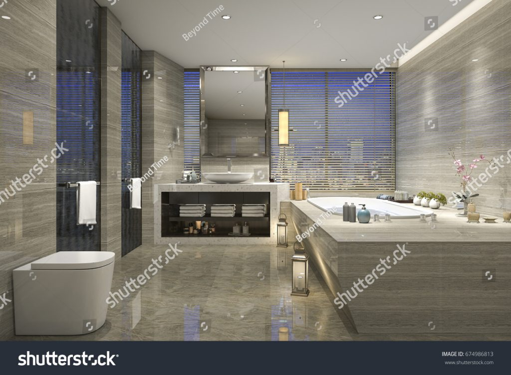 3d Rendering Modern Classic Bathroom Luxury Stockillustration 674986813