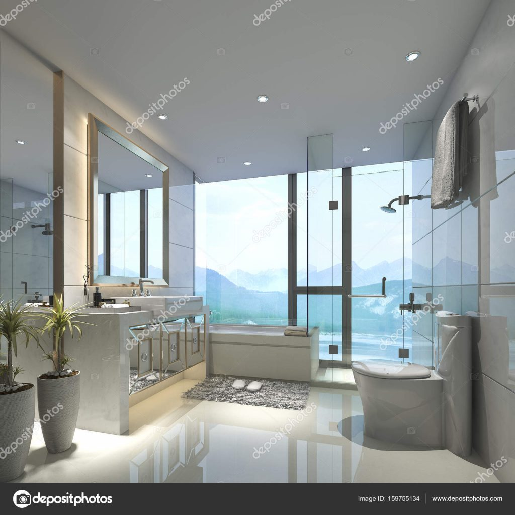 3d Rendering Modern Classic Bathroom With Luxury Tile Decor With
