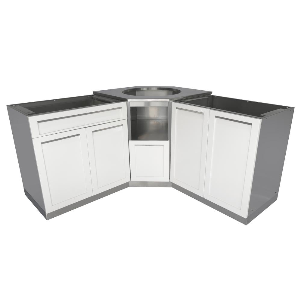 4 Life Outdoor Stainless Steel 101 In X 36 In X 37 In Outdoor Kitchen Kamado Corner Cabinet Set In White 3 Piece