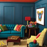 Burnt Orange and Blue Living Room