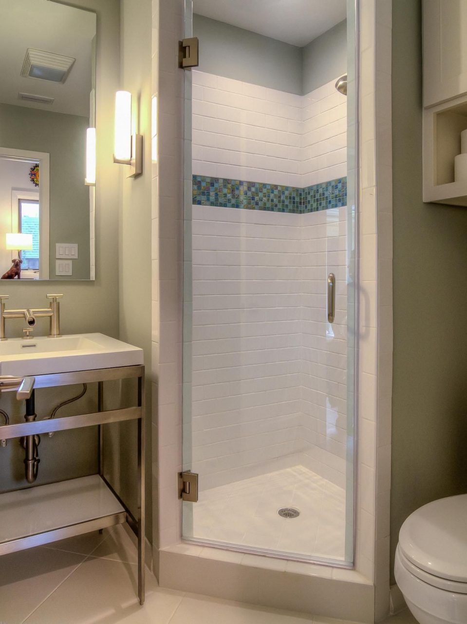 A Stall Shower Fits Perfectly In The Corner Of This Small Bathroom