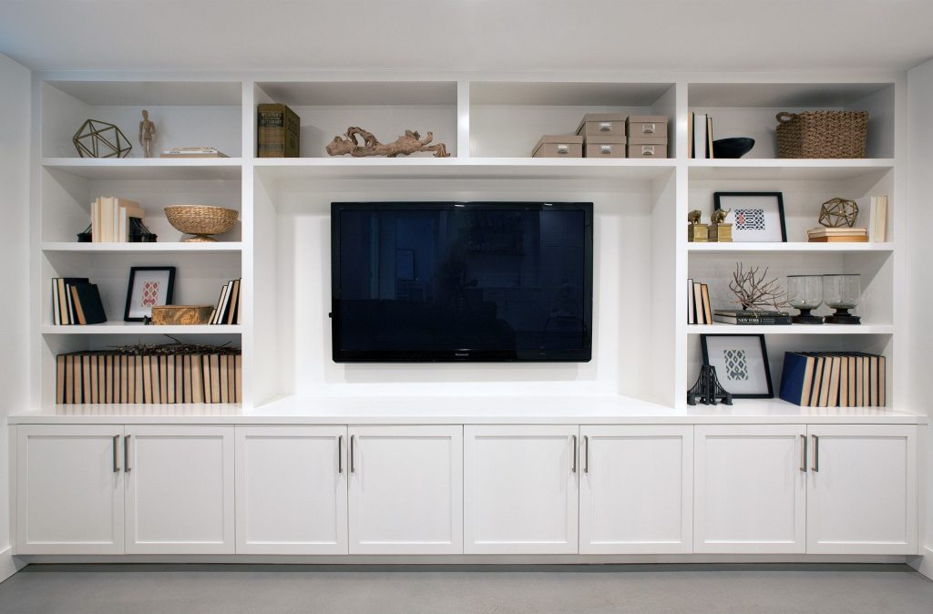 A Wall Of Built Ins For A Family Room Media Center Addition On