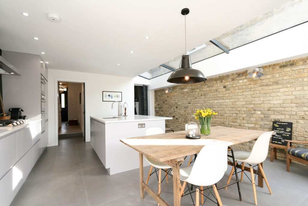 Adys Road Industrial Kitchen Exposed Brick Wall With Large Ceiling