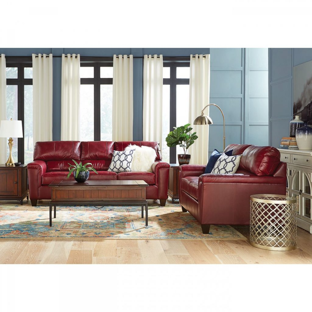 Asher Red Leather Sofa And Loveseat