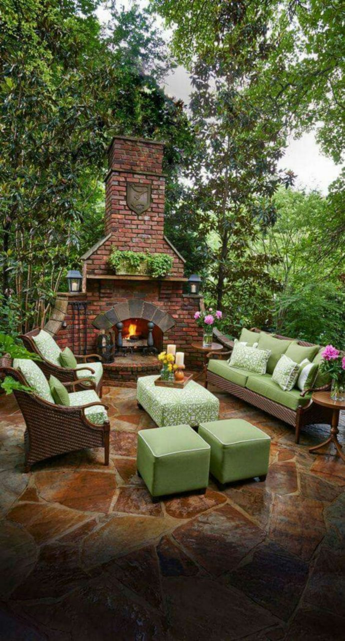 Astonshing Rustic Outdoor Fireplace Design Ideas 687 Outdoor
