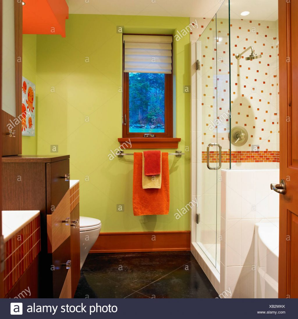 Bathroom With Lime Green Walls And Orange And White Tiles Victoria