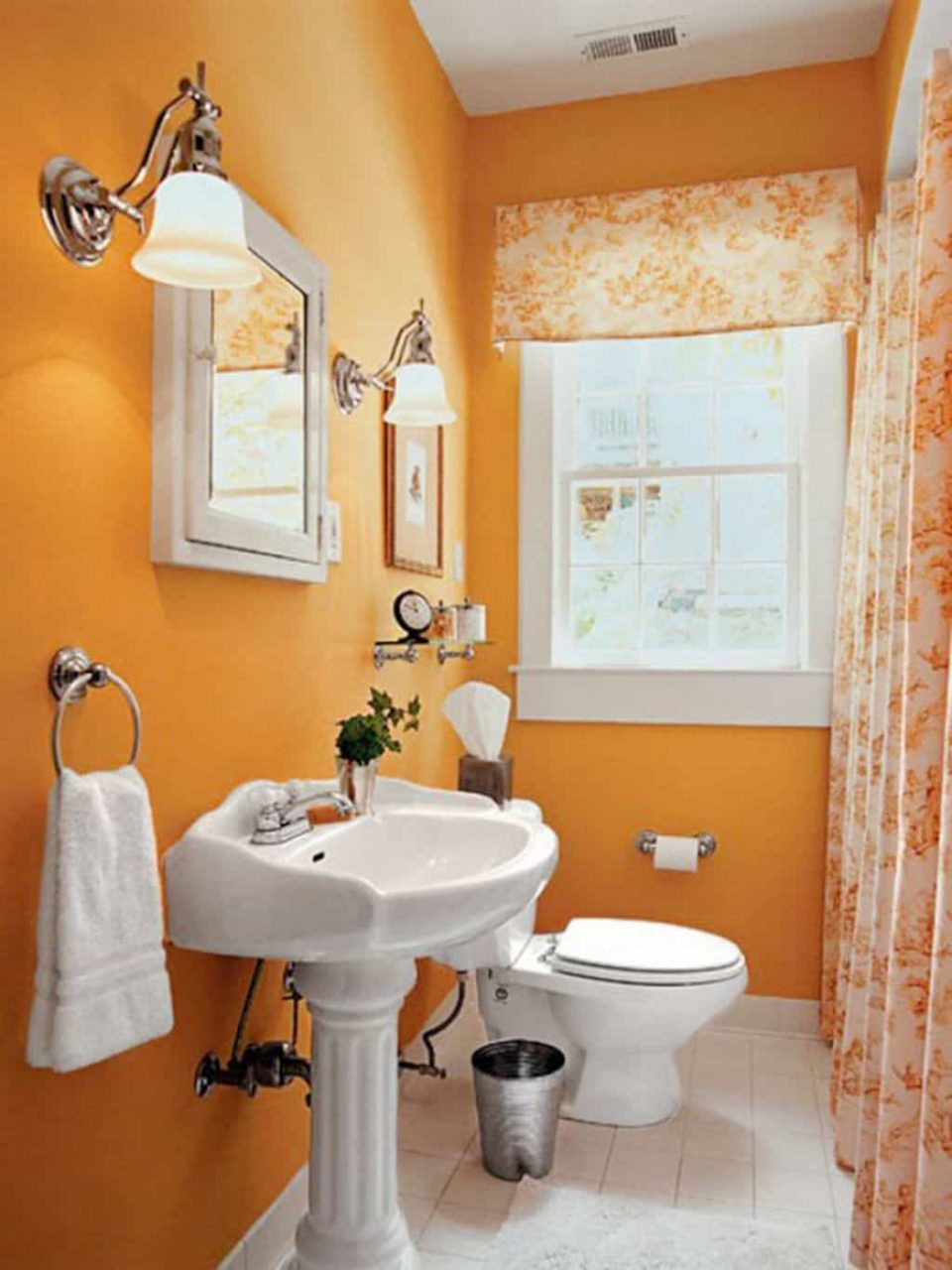 Bathroom With Orange Walls And White Elongated Toilet The Benefits