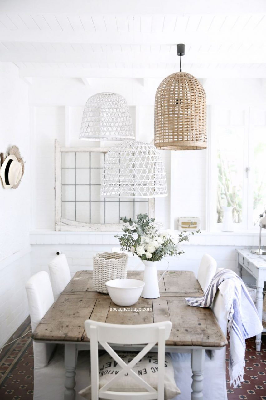 Beach Cottage Baskets Dining Room White Beach Houses Beach