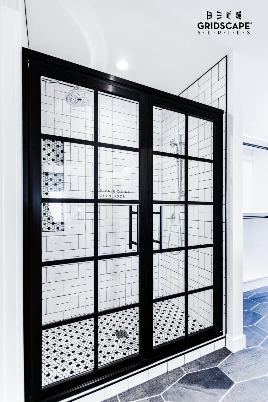 Beautiful Black And White Master Bathroom With Double Swing French
