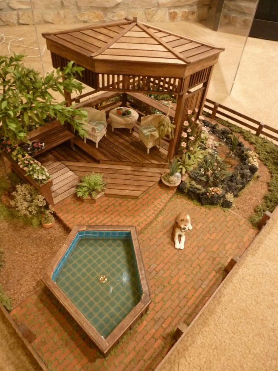 Beautiful Miniature Garden Display Gazebo Jacuzzi Flowers Trees