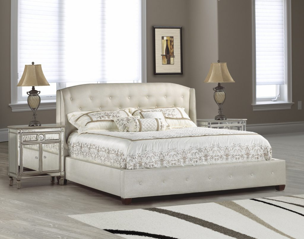 Bedroom Best Tufted Bed Frame With Wingback Headboard Plus Silver