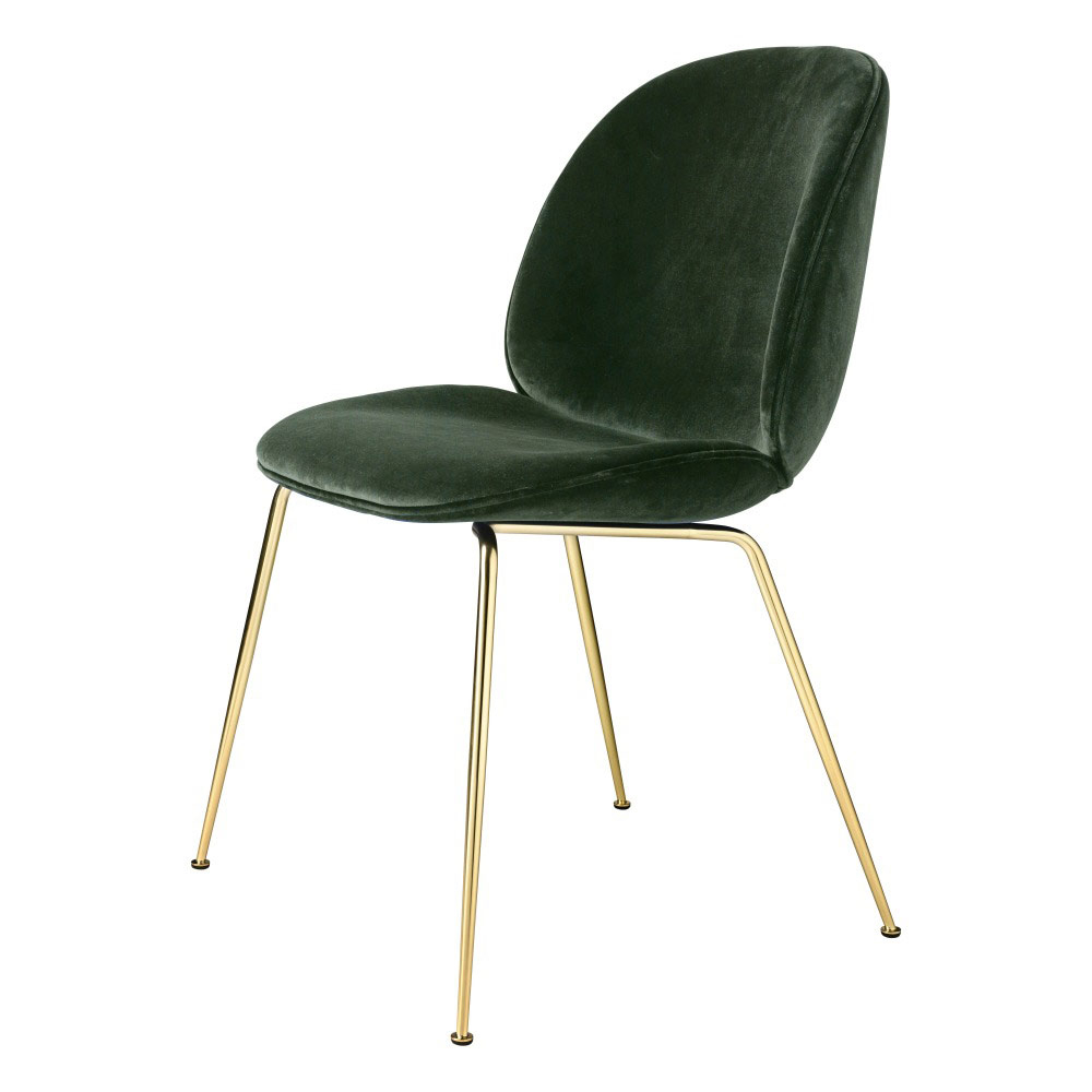 Beetle Fully Upholstered Dining Chair Green Velvet Brass Base
