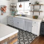 Black And White Tile Copper Pans Cottage Kitchen Romantic