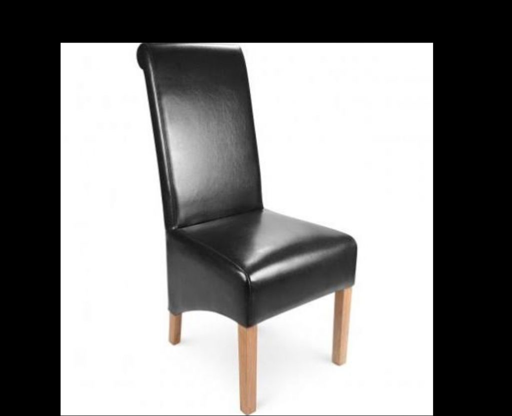 Black Leather High Scroll Back Dining Chair
