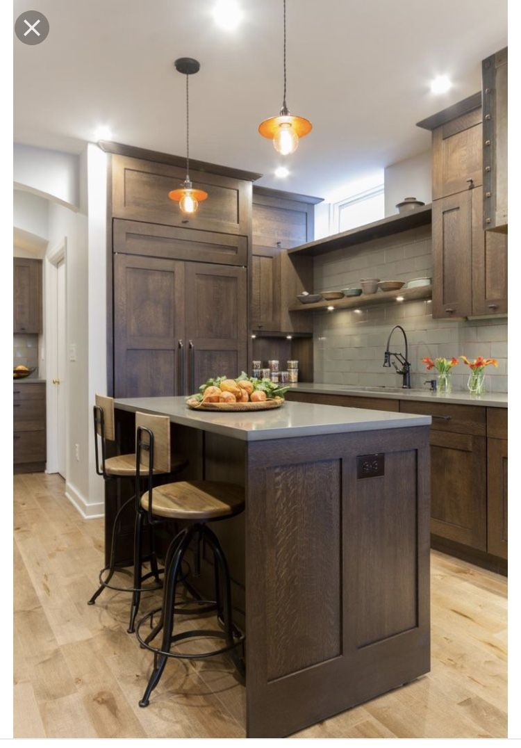 Brown Cabinets With Grey Countertops Home Ideas In 2019 Dark