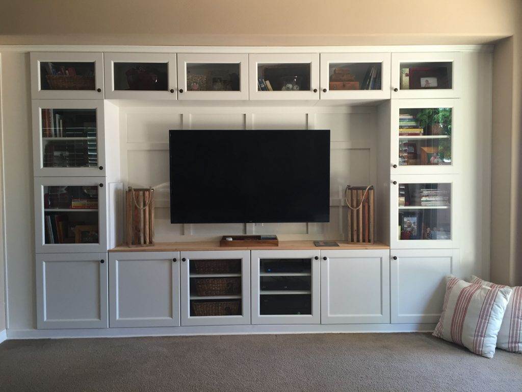 Built In Media Using Ikea Cabinets And Lumber Living Roomfamily