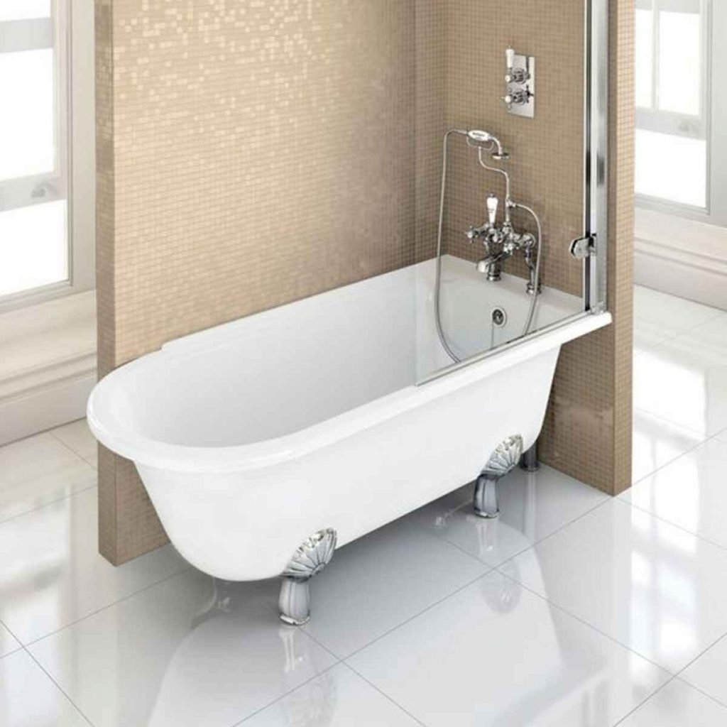 Burlington Hampton Roll Top Shower Bath With Luxury Feet 1500 1700 X 750mm