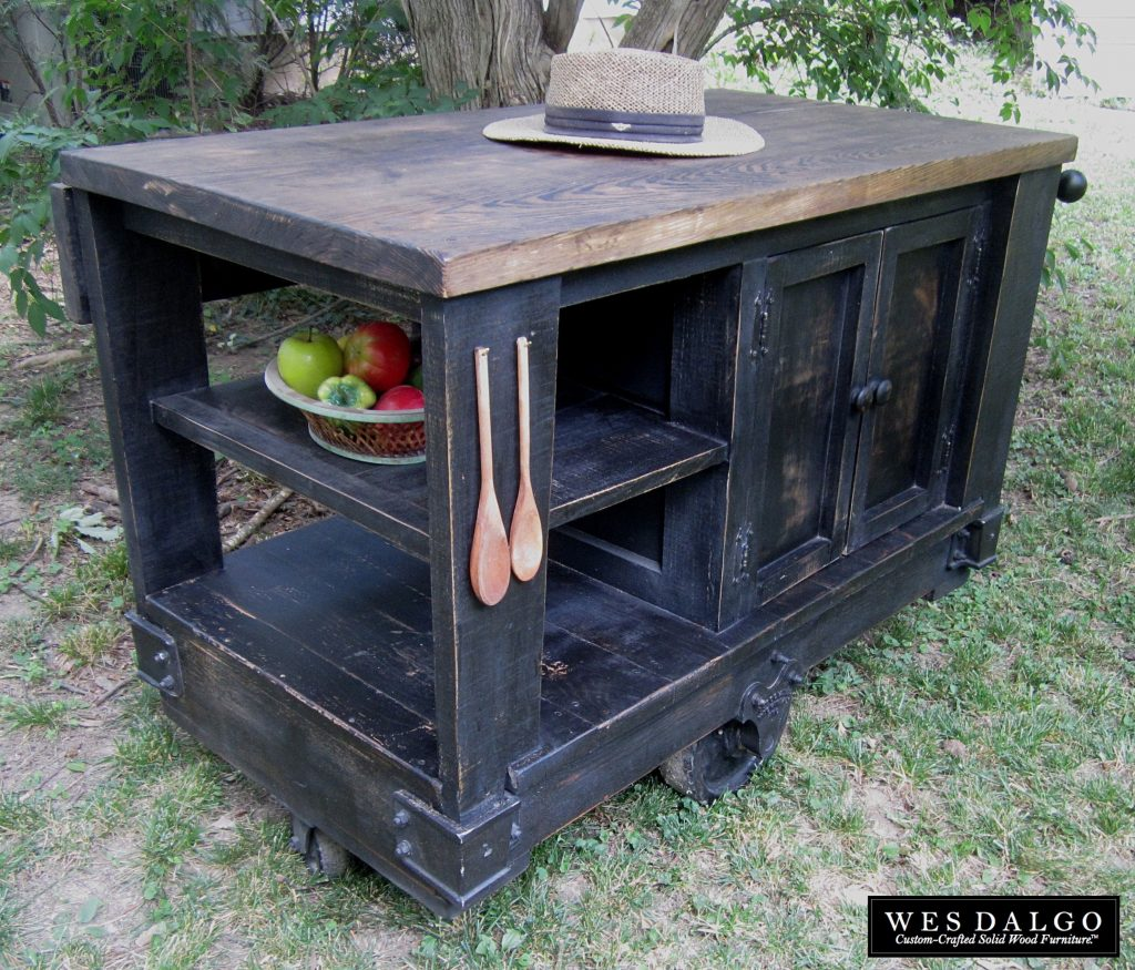 Buy A Custom Distressed Black Modern Rustic Kitchen Island Cart