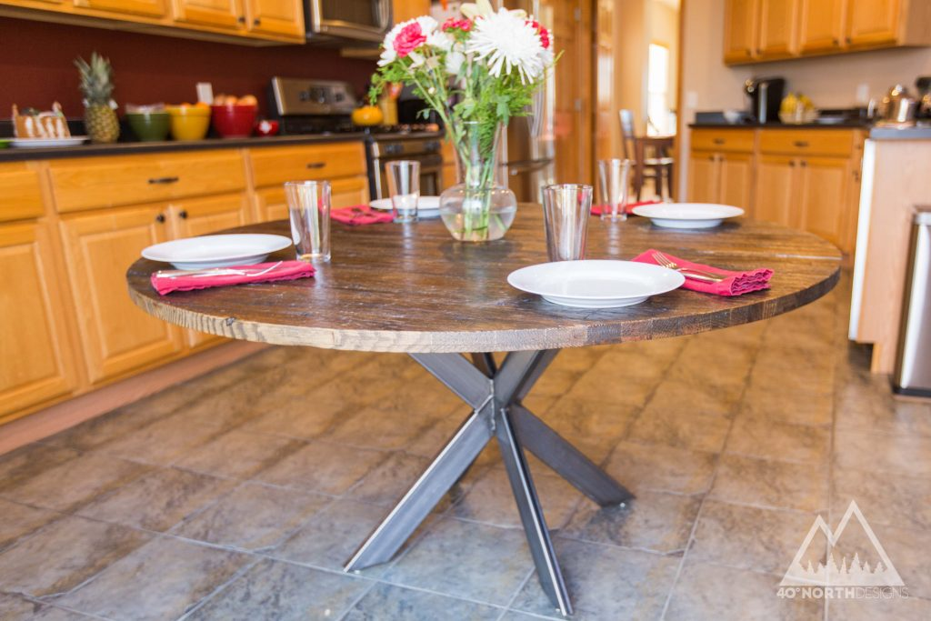 Buy A Hand Crafted Modern Rustic Round Table With Double Xx Base