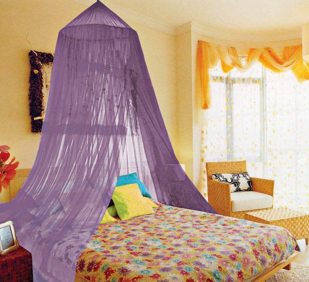 Canopy Bed Curtains Bedroom Ideas With Purple Color Sheer Drapes In