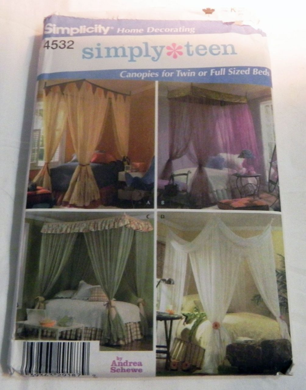 Canopy Bed Curtains Twin Or Full Size Sewing Pattern Simplicity 4532