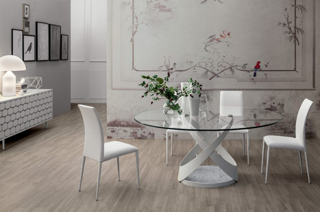 Capri Large Round Dining Table Matt White Metal Base Carrara White Marble Extra Clear Transparent Glass Top 059 Thickness