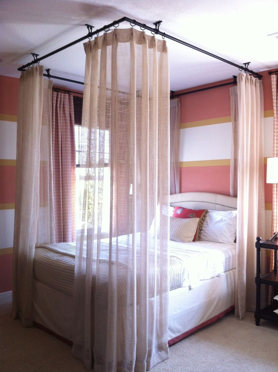 Ceiling Hung Curtains Around Bed Bedrooms In 2019 Canopy