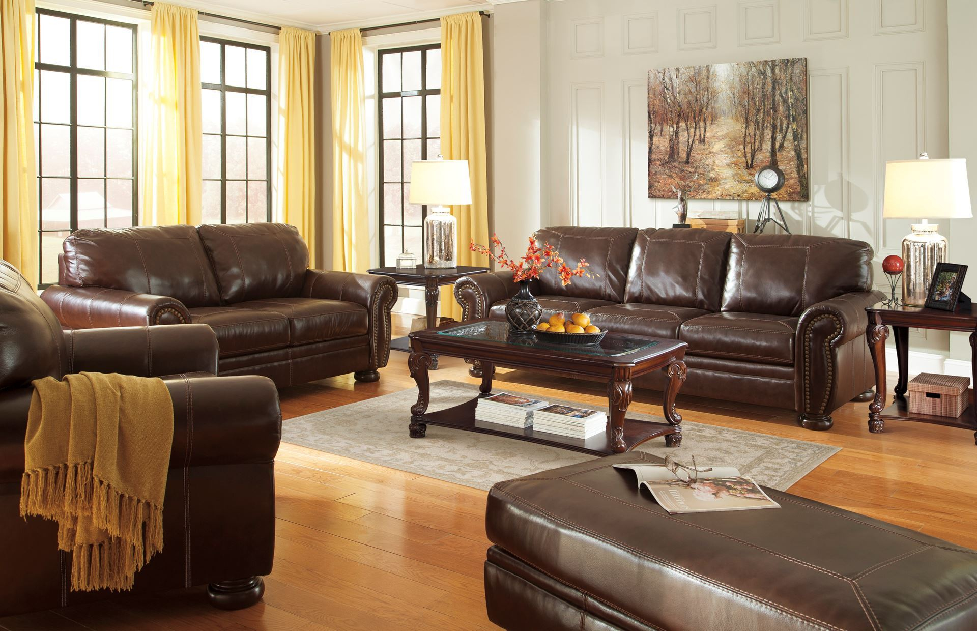 Chaintally Leather Sofa And Loveseat