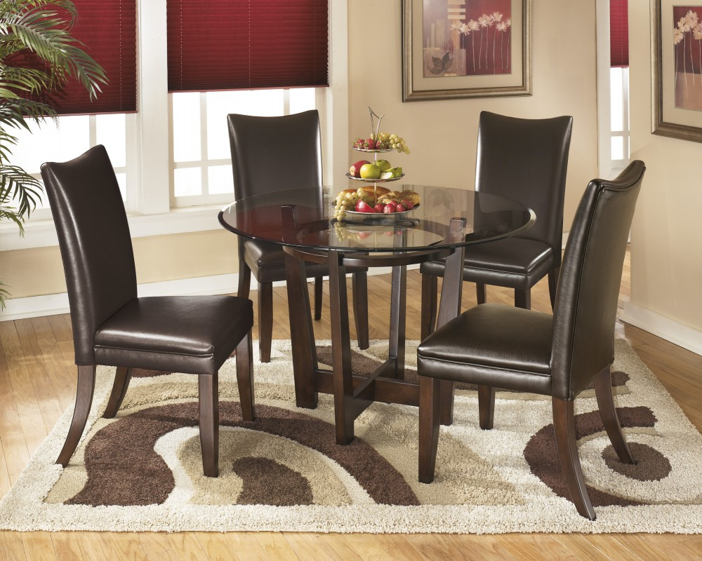 Charrell Round Dining Room Table 4 Medium Brown Uph Side Chairs